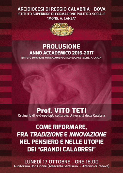 Prolusione Corsi 2016-2017 ISFPS del prof. Vito Teti